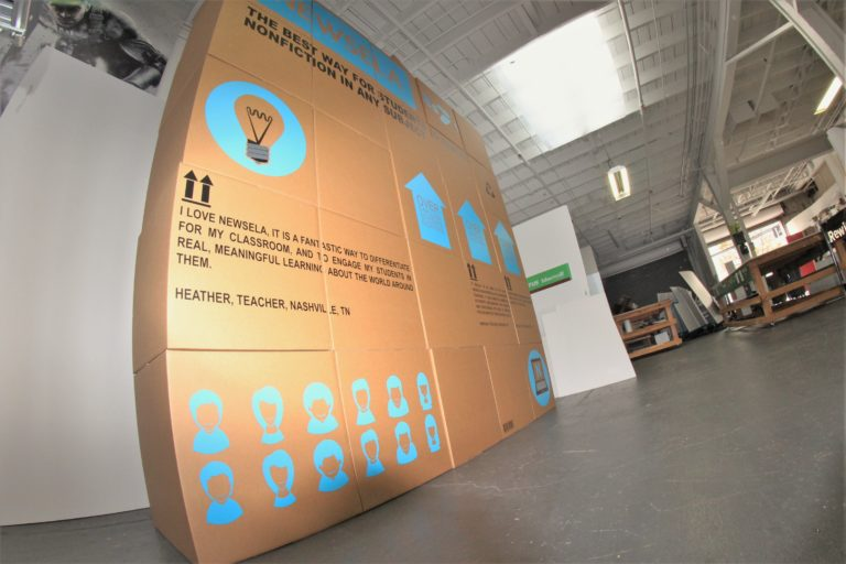 Bottom view of the cardboard box display with adhesive vinyl