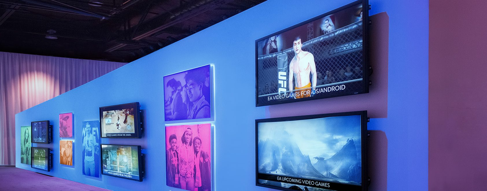 Graphic display wall with digital signage at EA event
