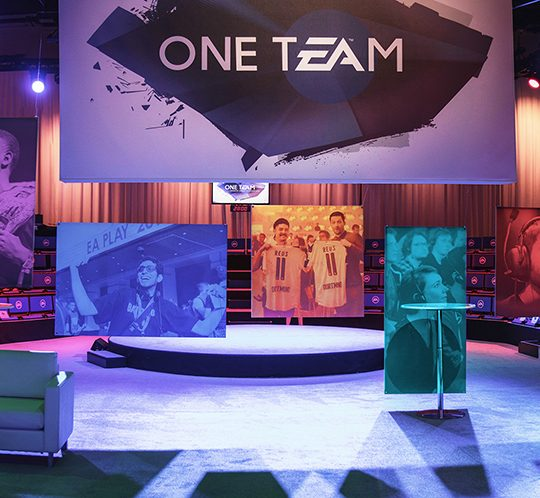 View of the stage for EA's One Team Event