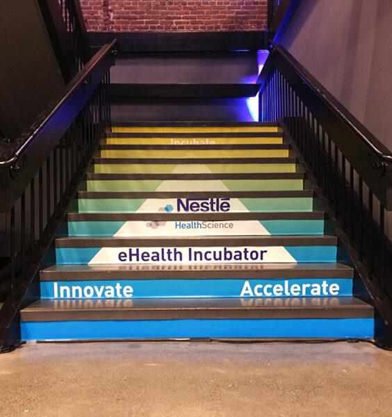 vinyl graphics on stairs