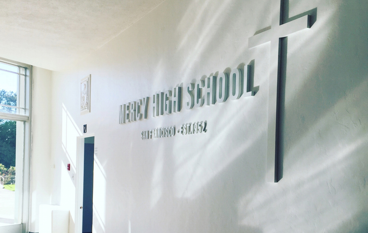 printed mercy high school entry way