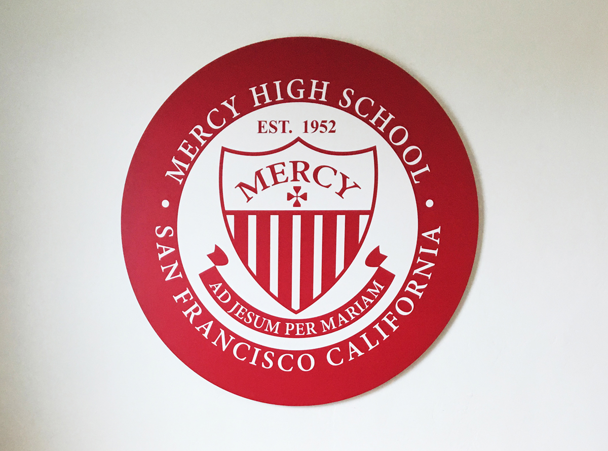 mercy high school plaque